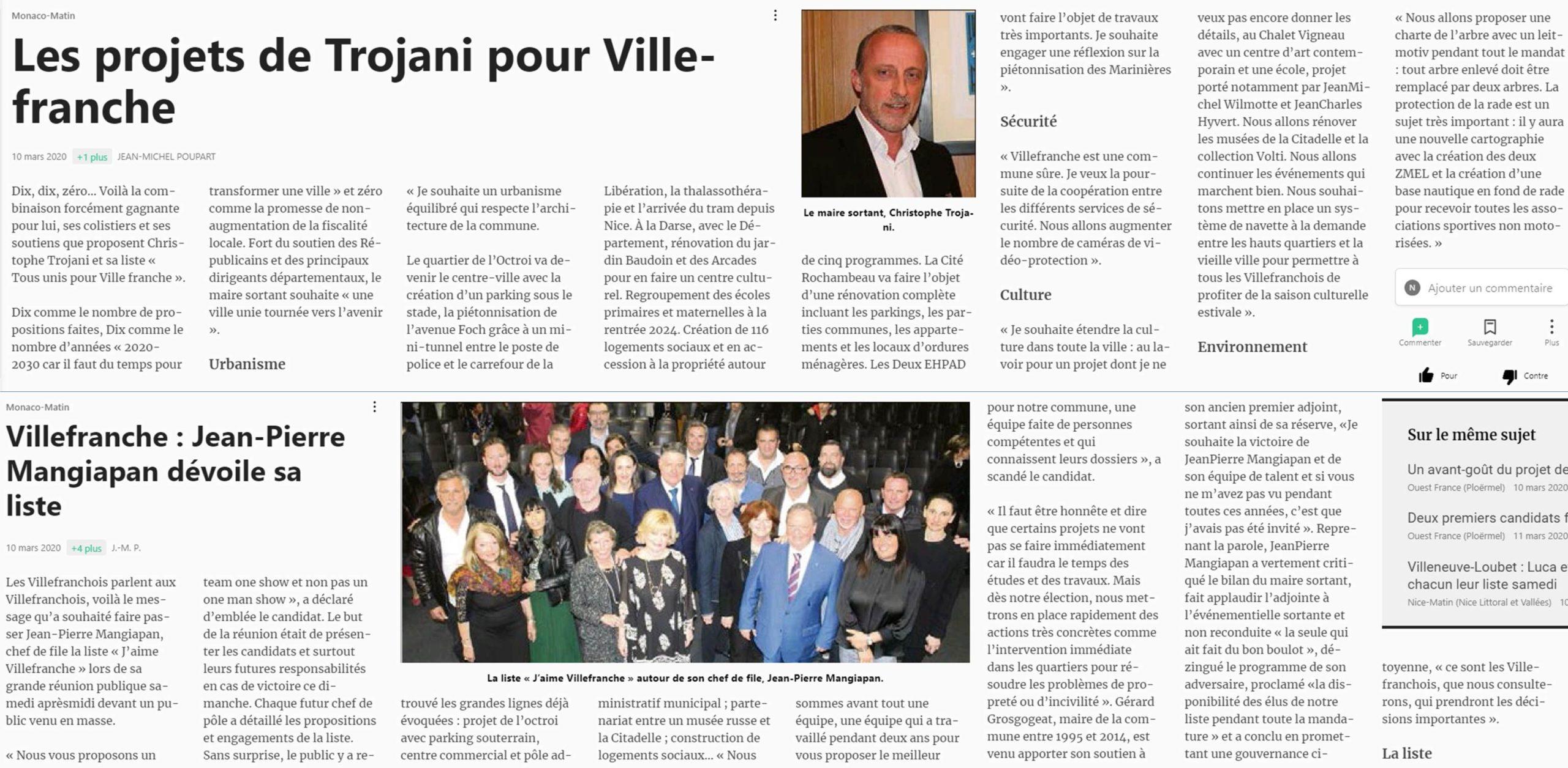 Article paru dans Nice Matin le 10 mars 2020